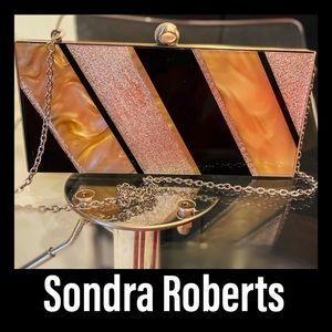 Sondra Roberts Clutch. Gold, Silver, Black & Beige